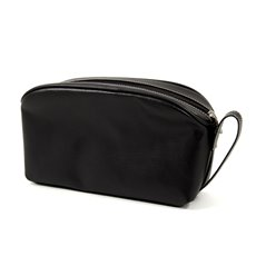 Black Leather Toiletry Bag with 6 Divided Inside Compartments and Zipper closure