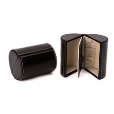 Black Leather 2 Compartment Jewelry Case with Magnetic Closure