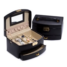 Black Leather 2 Level Jewelry Case with Drawer and Mirror Locking Clasp