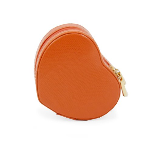 Orange Lizard Leather Small Heart Shaped Jewelry Box with Mirror and Zippered Closure