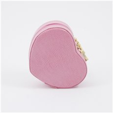 Pink Lizard Leather Small Heart Shaped Jewelry Box with Mirror and Zippered Closure