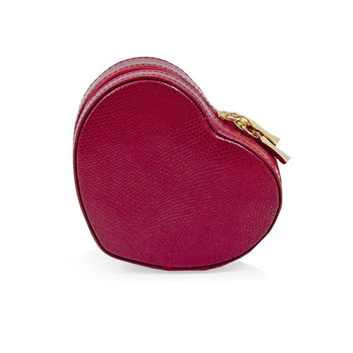 Red Lizard Leather Small Heart Shaped Jewelry Box with Mirror and Zippered Closure