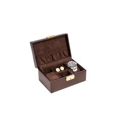 Brown Croco Leather 2 Watch, Cufflink and Accessories Box