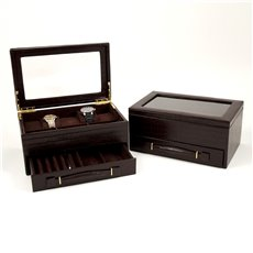Brown Croco Leather 5 Watch Box with Drawer for Pens and Accessories and Glass See Through Top