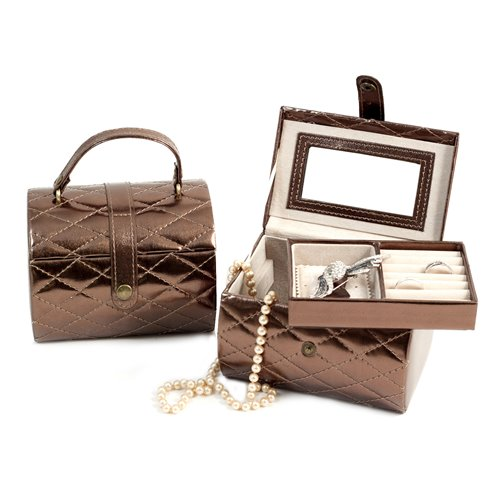 Bronze Leatherette Sweet 16 Jewelry Box with Removable Tray, Mirror and Snap Closure