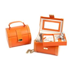 Orange Leather Jewelry Case with Removable Tray, Mirror and Push Button Closure