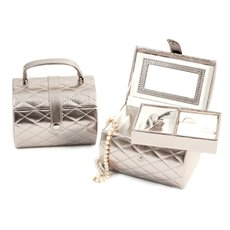 Silver Leatherette Sweet 16 Jewelry Box with Removable Tray, Mirror and Snap Closure