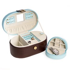 Blue and Brown Croco Leather Jewelry Box with Removable Travel Tray, Multi Compartments, Mirror and Magnetic Closure