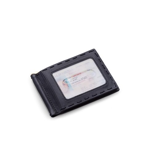 Black Leather Wallet with Money Clip and ID Window