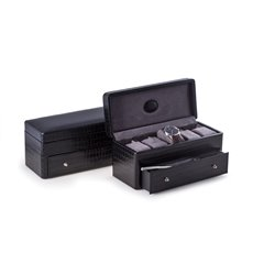 Black Croco Leather 5 Watch Box with Drawer for Pens and Accessories