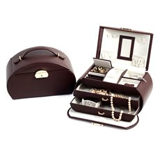 Brown Leather 3 Level Jewelry Box with 2 Drawers, Mirror and a Locking Clasp