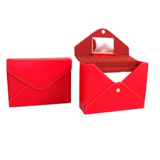 Red Leather Stationery Box with Envelopes, Stationery and Magnetic Snap