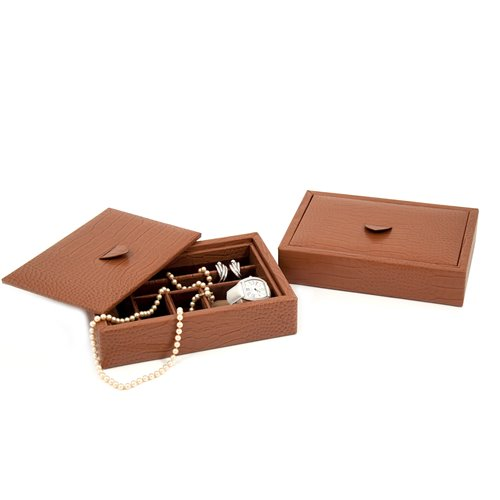 Brown Croco Leather Valet Tray with Multi Compartments and Lid