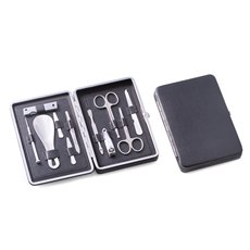10 Pieces Manicure Set in Black Leather Case
