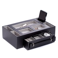 Black Leather Open Face Valet Box with Drawer for 2 Pens and 2 Watches Pigskin Leather Lined