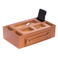 Tan Leather Open Face Valet Box with Drawer for 2 Pens and 2 Watches Pigskin Leather Lined