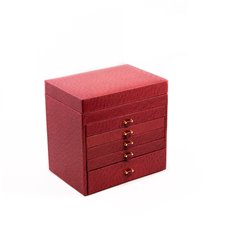 Red Ostrich Leather Jewelry Chest with Removable Travel Case, 5 Drawers and Top Tray with Mirror