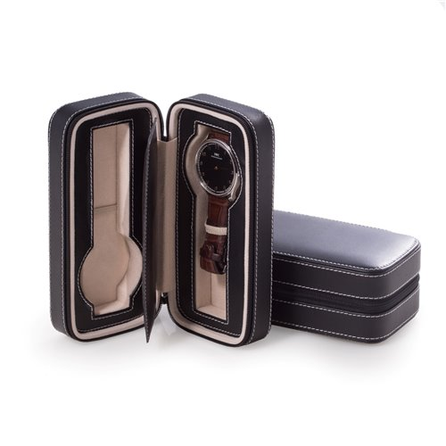 Black Leather Two Watch Travel Case with Form Fit Compartments, Center Divider to Prevent Watches from Touching and Zipper Closure