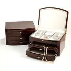 Lacquered Ebony Zebra Wood Jewelry Box with Multi Compartments, 2 Drawers, Mirror and Push Button Lock