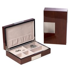 Lacquered Natural Walnut Wood Valet Box with Stainless Steel Accents and Multi Compartments Storage