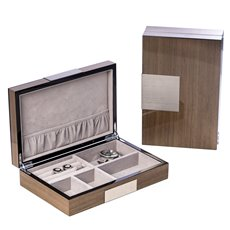 Lacquered Silver Walnut Wood Valet Box with Stainless Steel Accents and Multi Compartments Storage