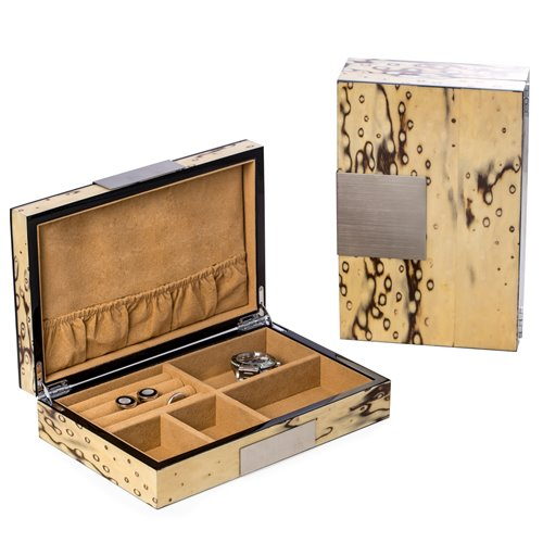 Lacquered Exotic Ice Burl Wood Valet Box with Stainless Steel Accents and Multi Compartments Storage