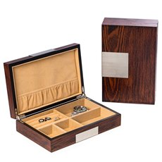 Lacquered Natural Wood Valet Box with Stainless Steel Accents and Multi Compartments Storage