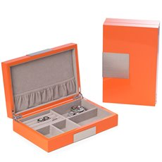 Lacquered Orange Wood Valet Box with Stainless Steel Accents and Multi Compartments Storage