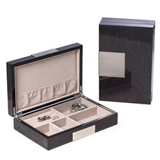 Lacquered Steel Gray Wood Valet Box with Stainless Steel Accents and Multi Compartments Storage