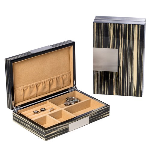 Lacquered Norwegian Zebra Wood Valet Box with Stainless Steel Accents and Multi Compartments Storage