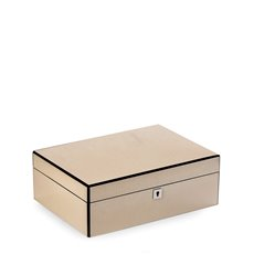 Lacquered Ivory White Jewelry Box with Etched Croco Design in Wood