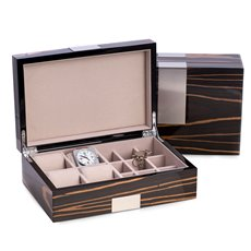 Lacquered Ebony Burl Wood Valet Box with Stainless Steel Accents for 4 Watches and 9 Cufflink