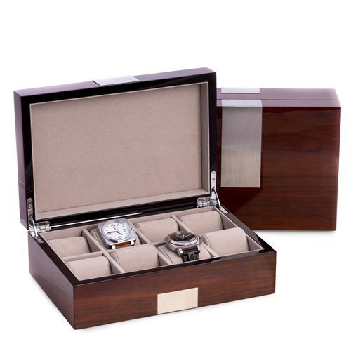 Lacquered Walnut Wood 8 Watch Box with Stainless Steel Accents