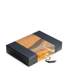 Black Lacquered Wooden Box with 15 Divided Sections, Scratch Resistant Velour Lining, Gold Accents, Locking Clasp and Swirl Design Top