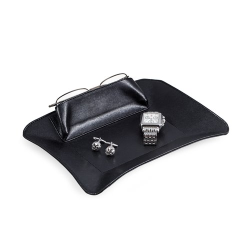 Black Leather Valet with Side Compartment for Phone or Glasses