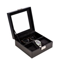 Black Leather Watch and Accessory Case with Glass Top and Locking Clasp