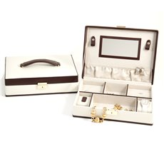 Ivory and Brown Leather Jewelry Box with Multi Compartments, 2 Watch / Bracelet Pillows, Mirror and Locking Clasp
