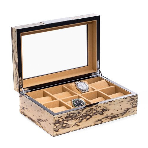Lacquered Exotic Ice Burl Wood 8 Watch Case with Glass Top and Velour Lining