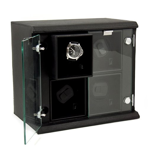 Black Leather Quadruple Watch Winder