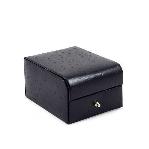 Black Ostrich Leather Two Level Jewelry Case with Drawer, Mirror and Velour Lined