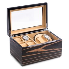 Lacquered Ebony Burl Wood 2 Watch Winder with Storage for 4 Watches, Glass Top, Velour Lined