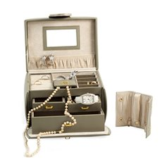 Olive Leather 3 Level Jewelry Box with 3 Drawers, Travel Roll, Mirror and Secured Closure