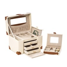 Ivory Leather 4 Level Multi Compartment Jewelry Box with 3 Drawers, Removable Travel Case, Mirror and Snap Closure