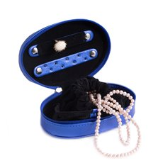 Blue Leatherette Multi Compartment Jewelry Case with Zippered Closure