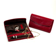 Red Croco Leather Multi Compartment Jewelry Clutch with Snap Closure