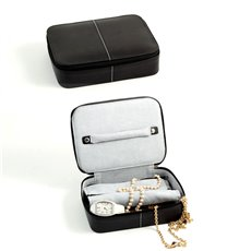 Black Leather Multi Compartment Jewelry Box with Zippered Closure