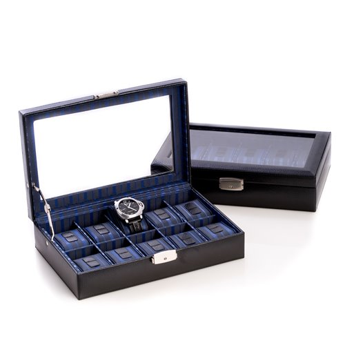 Black Leather 10 Watch Case with Glass Top and Locking Clasp