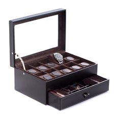 Black Pebbled Leather 10 Watch Case with Glass See-thru Top and Drawer for Cufflinks and Pens