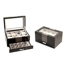Lacquered Wenge Wood 8 Watch Box with Glass Top, Drawer for Cufflinks and Pens