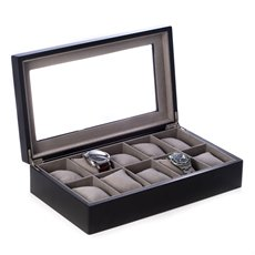 Matte Black Wood 10 Watch Box with Glass Top and Velour Lining and Pillows